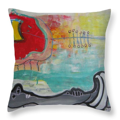 Red Paintings Throw Pillow featuring the painting Read My Mind1 by Seon-Jeong Kim