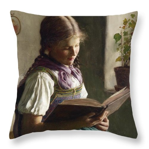 Emil Rau Throw Pillow featuring the painting Reading Girl by Celestial Images