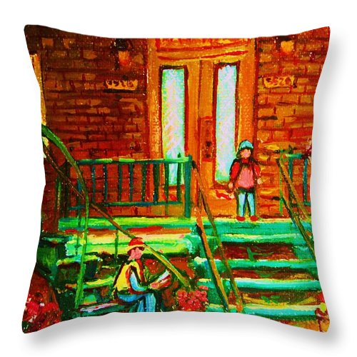 Stairways Throw Pillow featuring the painting Reading On The Steps by Carole Spandau