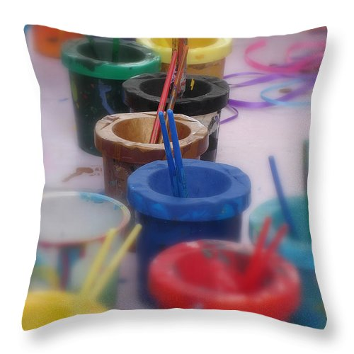 Painting Throw Pillow featuring the photograph Ready  Set  Paint by Shelley Jones