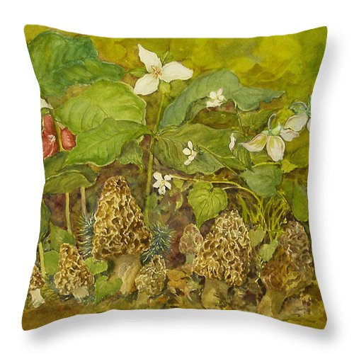 Mushrooms;trillium;spring;violets;woods;woodland;morels;watercolor Painting; Throw Pillow featuring the painting Ready For Pickin' by Lois Mountz