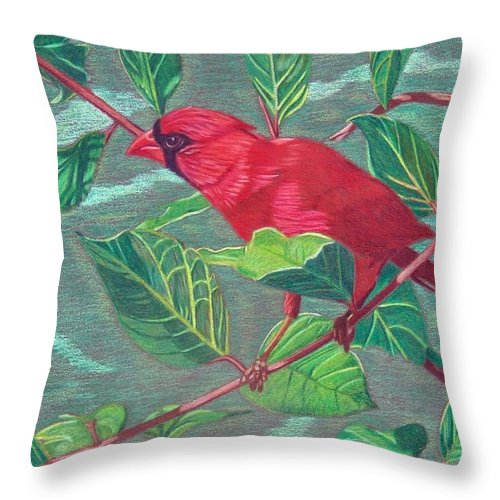 Cardinal Throw Pillow featuring the painting Ready For Takeoff by Anita Putman