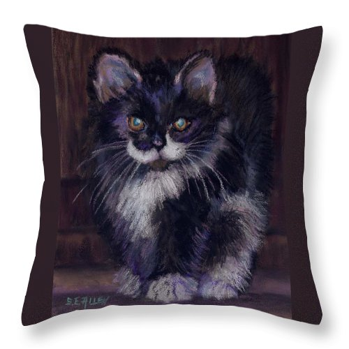 Kitten Throw Pillow featuring the painting Ready for Trouble by Sharon E Allen