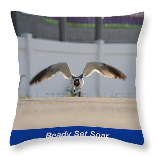 Quotes Throw Pillow featuring the photograph Ready Set Soar by Robert Banach