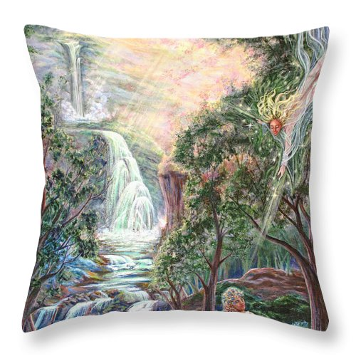 Spiritual Throw Pillow featuring the painting Ready To Fly by Joyce Jackson