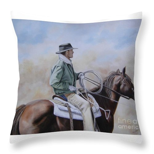 Ranch Throw Pillow featuring the painting Ready To Rope by Mary Rogers