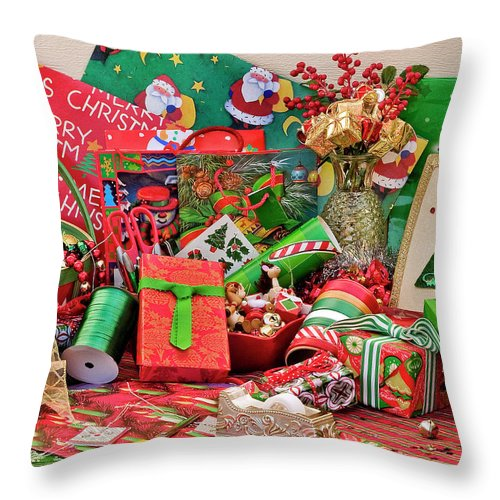 Christmas Throw Pillow featuring the photograph Ready To Wrap by Carole Gordon