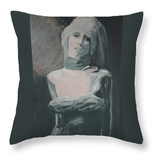 Portrait Throw Pillow featuring the painting Real Love Is Hard To Find by Jarmo Korhonen aka Jarko