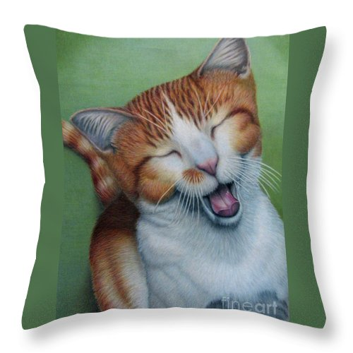 Fuqua - Artwork Throw Pillow featuring the drawing Really I Am Wide Aaawaaaaake by Beverly Fuqua