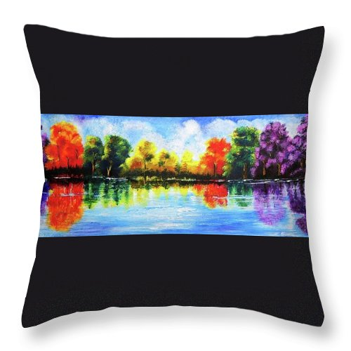 Nature Throw Pillow featuring the painting Realm Of Serene- Original Painting by Mrs Neeraj Parswal