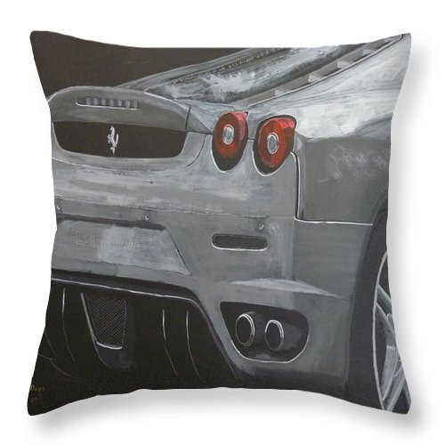 Ferrari Throw Pillow featuring the painting Rear Ferrari F430 by Richard Le Page