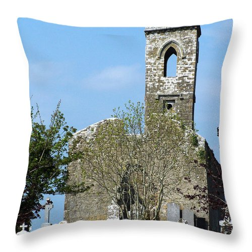 Fuerty Throw Pillow featuring the photograph Rear View Fuerty Church And Cemetery Roscommon Ireland by Teresa Mucha