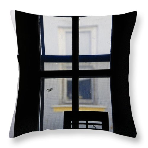 Architecture Throw Pillow featuring the photograph Rear Window 2 by Skip Hunt