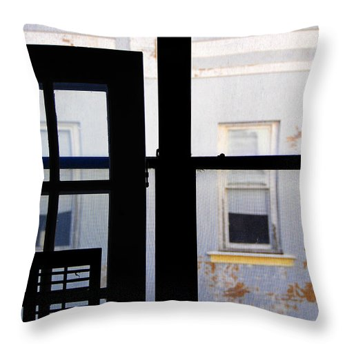 Architecture Throw Pillow featuring the photograph Rear Window 3 by Skip Hunt