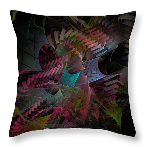 Abstract Throw Pillow featuring the digital art Reason And Virtue - Fractal Art by NirvanaBlues