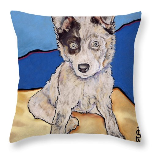 Merle Aussie Throw Pillow featuring the painting Reba Rae by Pat Saunders-White