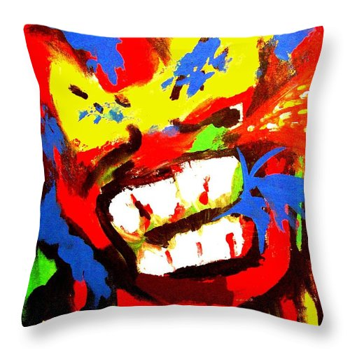 Teenager Throw Pillow featuring the painting Rebel Rebel by Alan Hogan