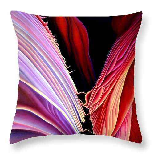 Antalope Canyon Throw Pillow featuring the painting Rebirth by Anni Adkins