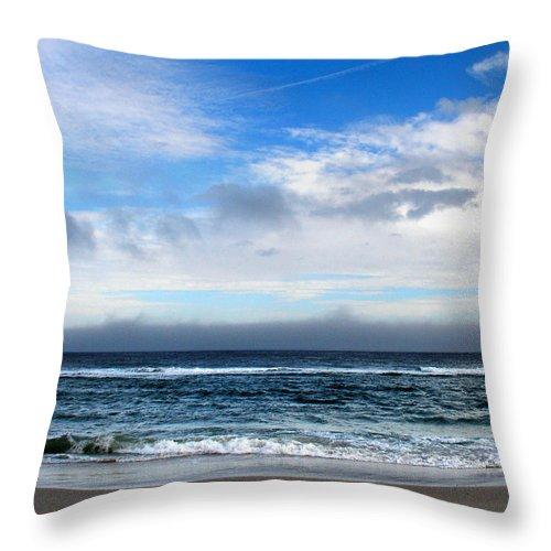 Seascape Throw Pillow featuring the photograph Receding Fog Seascape by Steve Karol