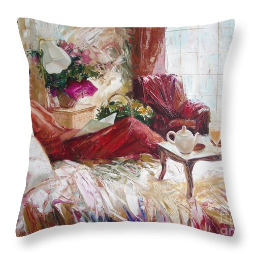 Art Throw Pillow featuring the painting Recent news by Sergey Ignatenko