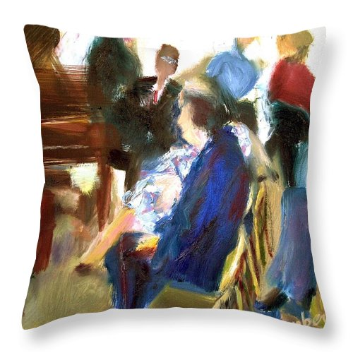 Dornberg Throw Pillow featuring the painting Recital In The Home by Bob Dornberg