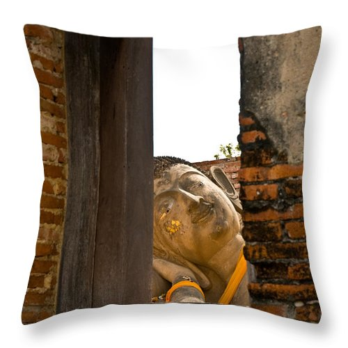Ancient Throw Pillow featuring the photograph Reclining Buddha View Through A Window by U Schade