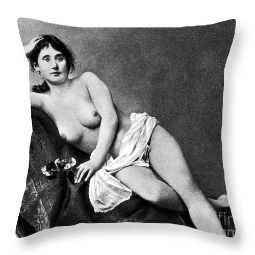 Throw Pillow featuring the painting Reclining Nude, C1885 by Granger