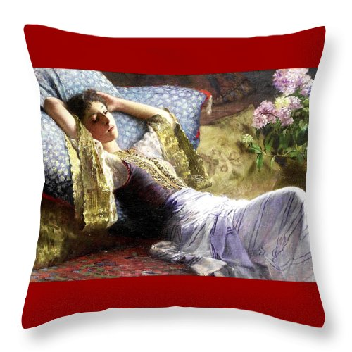 Ferdinand Bredt Throw Pillow featuring the painting Reclining Odalisque by Ferdinand Bredt
