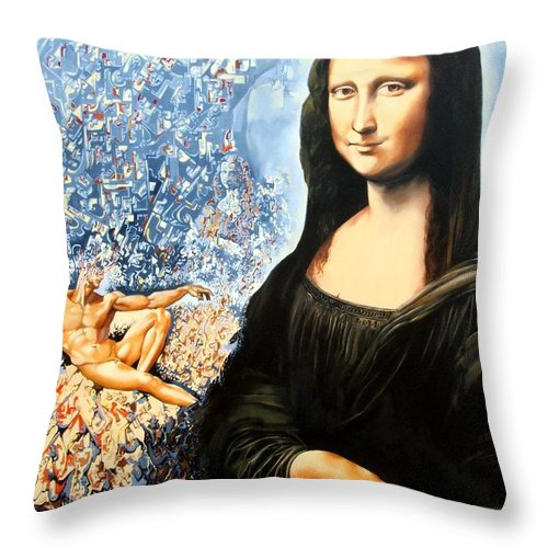 Surrealism Throw Pillow featuring the painting Reconstruction Of High Renaissance by Darwin Leon