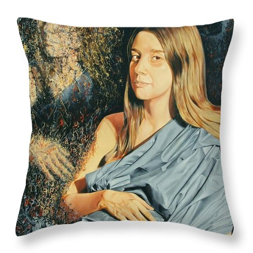Surrealism Throw Pillow featuring the painting Reconstruction Of The Classical Madonna by Darwin Leon