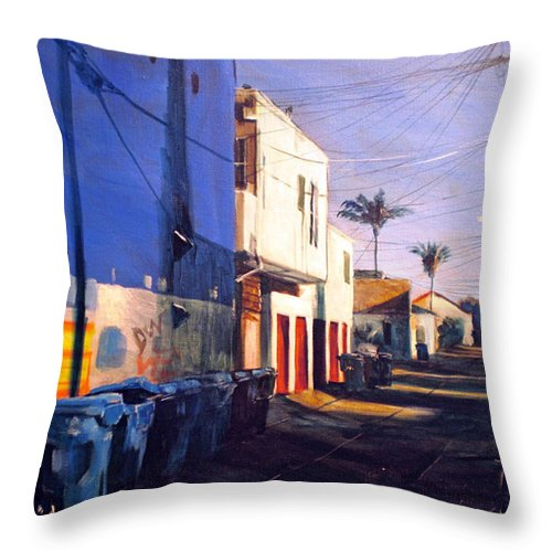 Cityscapes Throw Pillow featuring the painting Recyclin by Duke Windsor