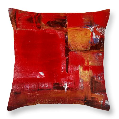Abstract Throw Pillow featuring the painting Red Abstract by Gina De Gorna