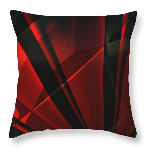 Abstractum Throw Pillow featuring the digital art Red Abstractum by Max Steinwald