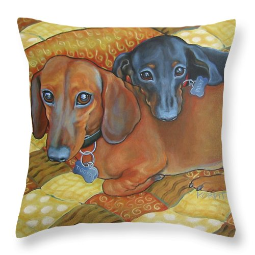 Red And Black Dachshunds Throw Pillow featuring the painting Red And Black Dachshunds - Best Buds by Rebecca Korpita