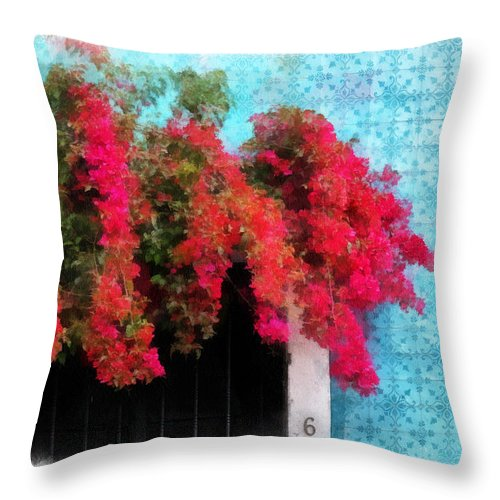 Bougainvillea Throw Pillow featuring the photograph Bouganvillea And Blue Azulejos by Barbara Budzinski