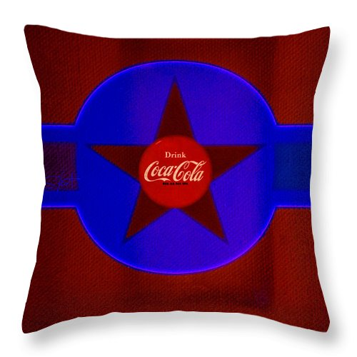 Label Throw Pillow featuring the painting Red And Blue by Charles Stuart