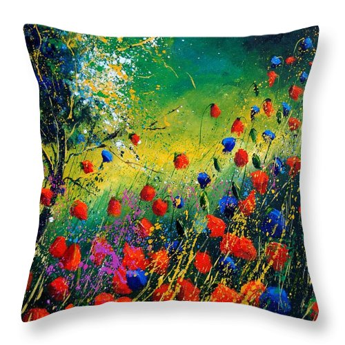 Flowers Throw Pillow featuring the painting Red And Blue Poppies by Pol Ledent