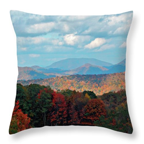 Blue Ridge Throw Pillow featuring the photograph Red And Green Blue Ridge Mountains by Gary Adkins