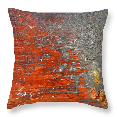 Red Throw Pillow featuring the photograph Red And Grey Abstract by Hana Shalom
