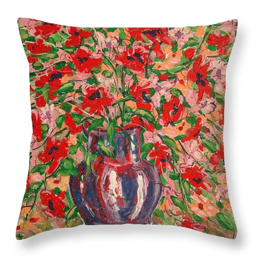 Flowers Throw Pillow featuring the painting Red And Pink Poppies. by Leonard Holland