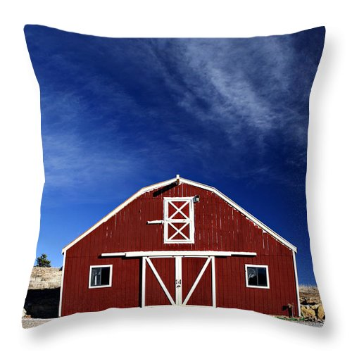 Americana Throw Pillow featuring the photograph Red And White Barn by Marilyn Hunt