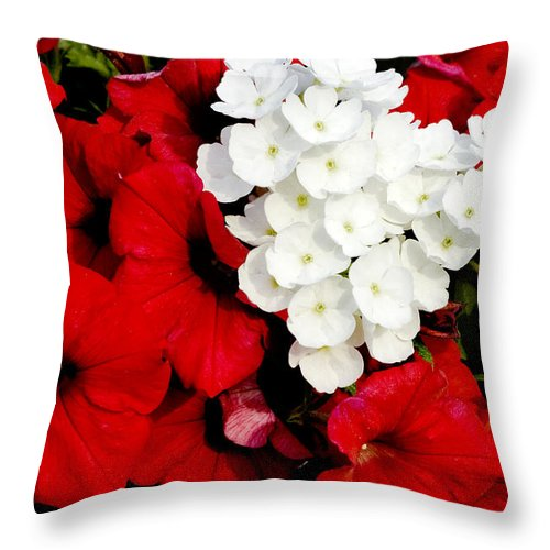 Flowers Throw Pillow featuring the photograph Red And White by Greg Fortier