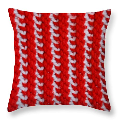 Material Throw Pillow featuring the photograph Red And White Knit by AnnaJo Vahle