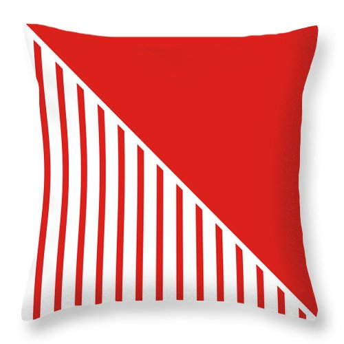 Red Throw Pillow featuring the digital art Red And White Triangles by Linda Woods
