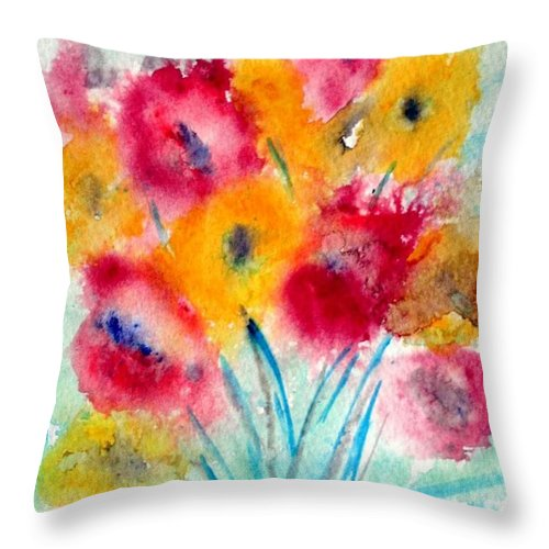 Flowers Throw Pillow featuring the painting Red And Yellow Flowers by Luiza Vizoli