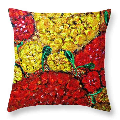 Flower Throw Pillow featuring the painting Red And Yellow Garden by Sarah Loft