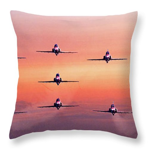 Dawn Throw Pillow featuring the photograph Red Arrows At Dawn by Chris Lord