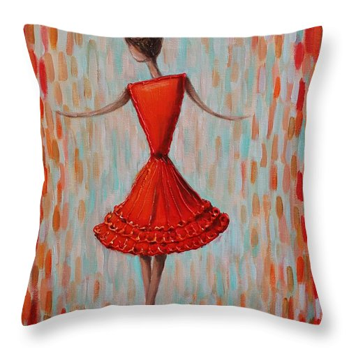 Abstract Throw Pillow featuring the painting Red Ballerina by Mirjana Gotovac