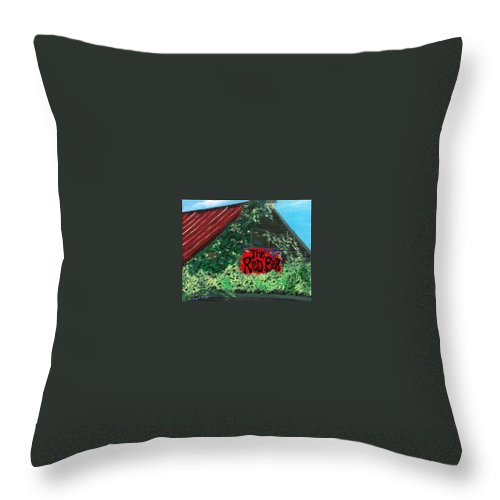 Red Bar Throw Pillow featuring the painting Red Bar - Grayton Beach by Racquel Morgan