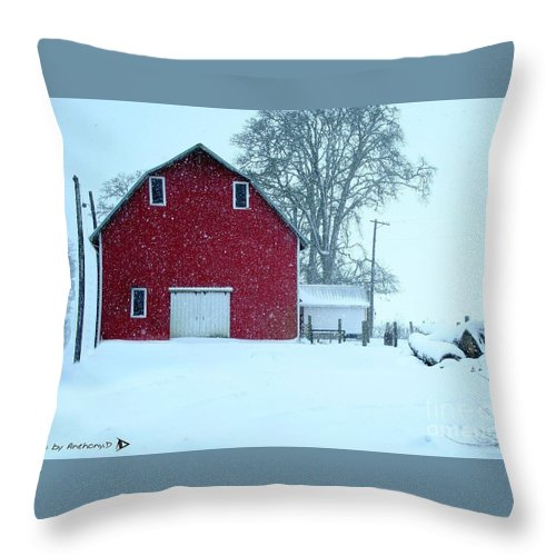 Red Barn Throw Pillow featuring the photograph Red Barn In Snow by Anthony Djordjevic